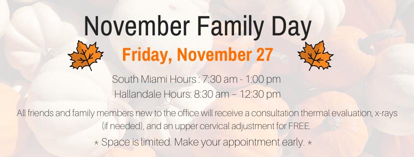 2020 November Family Day Events